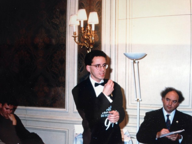 """Chartier in action during one of the oral tests at the Grand Prix Sopexa in Paris in 1994, with on his right, who search his every move, the French sommelier and chef, the late Patrick Pagès, who was one of his mentors. """